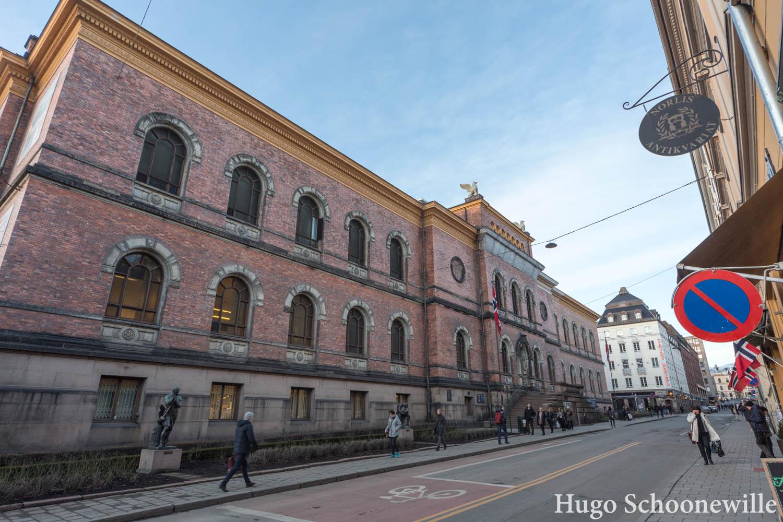 De buitenzijde van de National Gallery in Oslo.