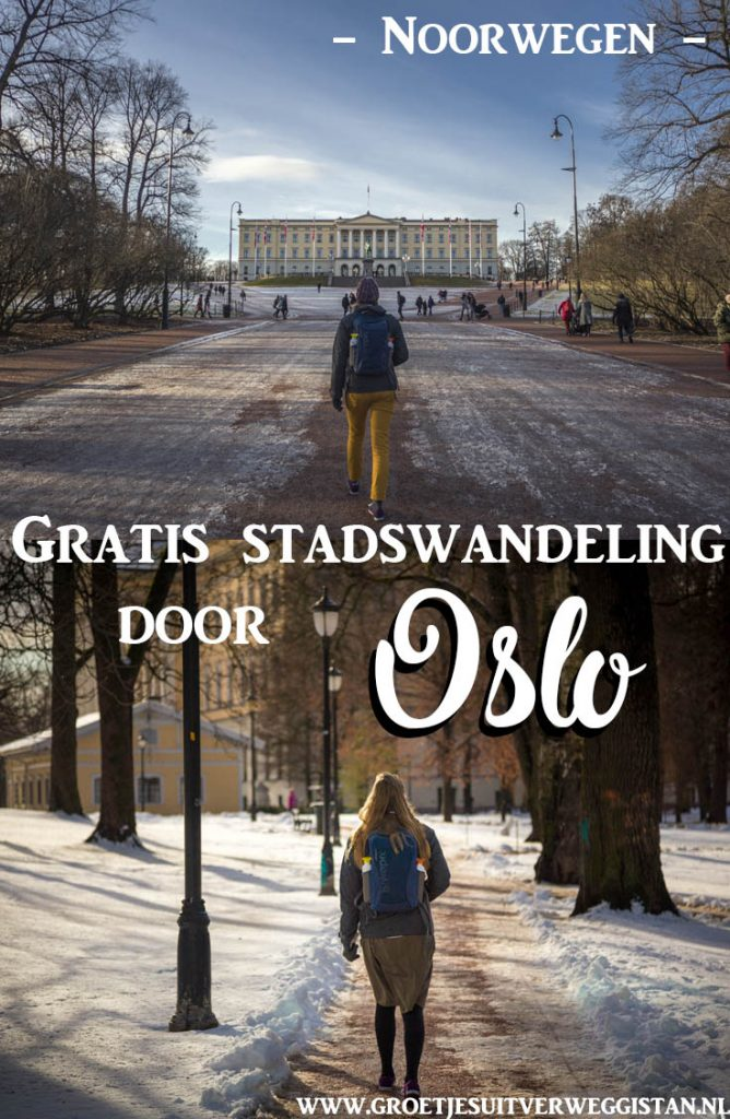 Meisje wandelt door de straten van Oslo langs het koninklijk paleis.