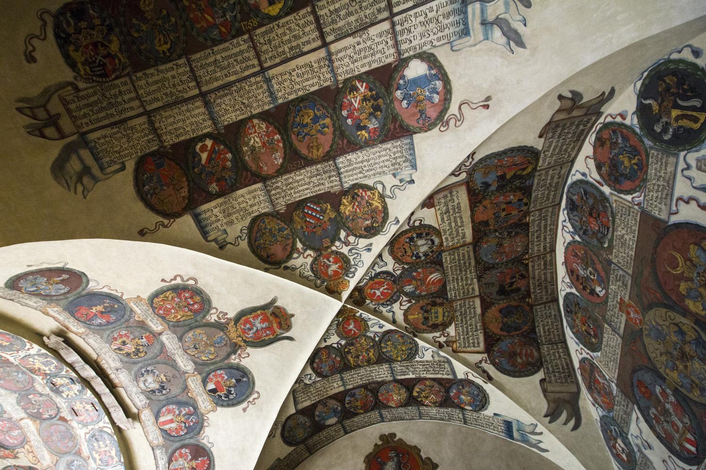 Fresco's in het koninklijk paleis in Praag