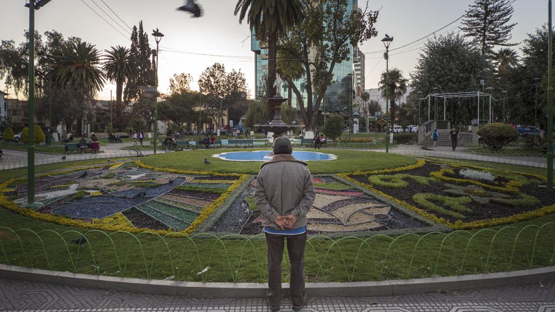 Groen perkje in een park in Cochabamba