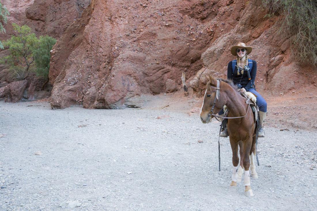 Manouk op een bruin paard voor rode rotsen bij Tupiza
