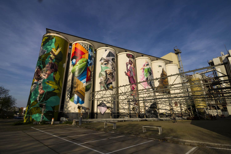 Prachtige schilderingen op de silo's op de Tramkade in Den Bosch.