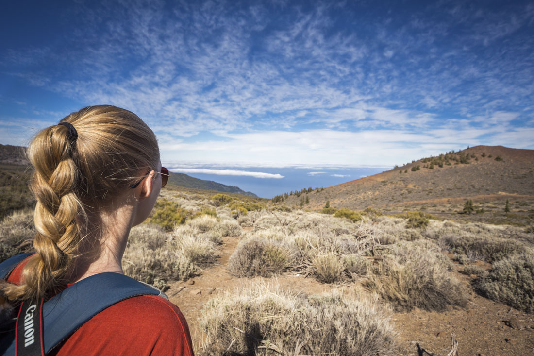 Droge landschap rondom vulkaan El Teide op Tenerife met mooie wolkenlucht