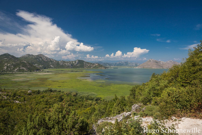 Uitzicht over het Skadarmeer in Montenegro met bergen op de achtergrond