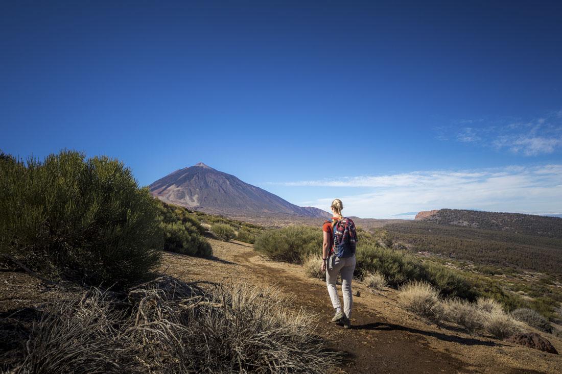 Manouk wandelt door het landschap bij vulkaan El Teide.