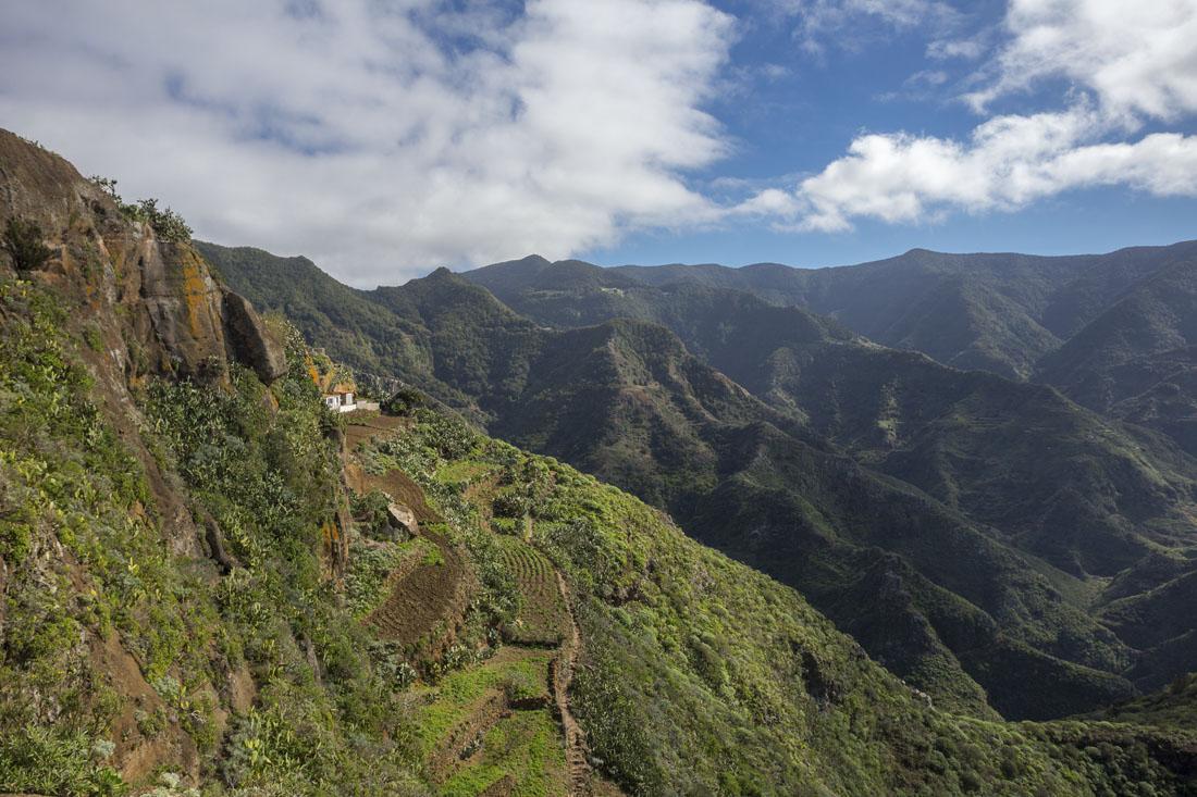 Prachtige uitzichten over de groene bergen van Anaga National Park.