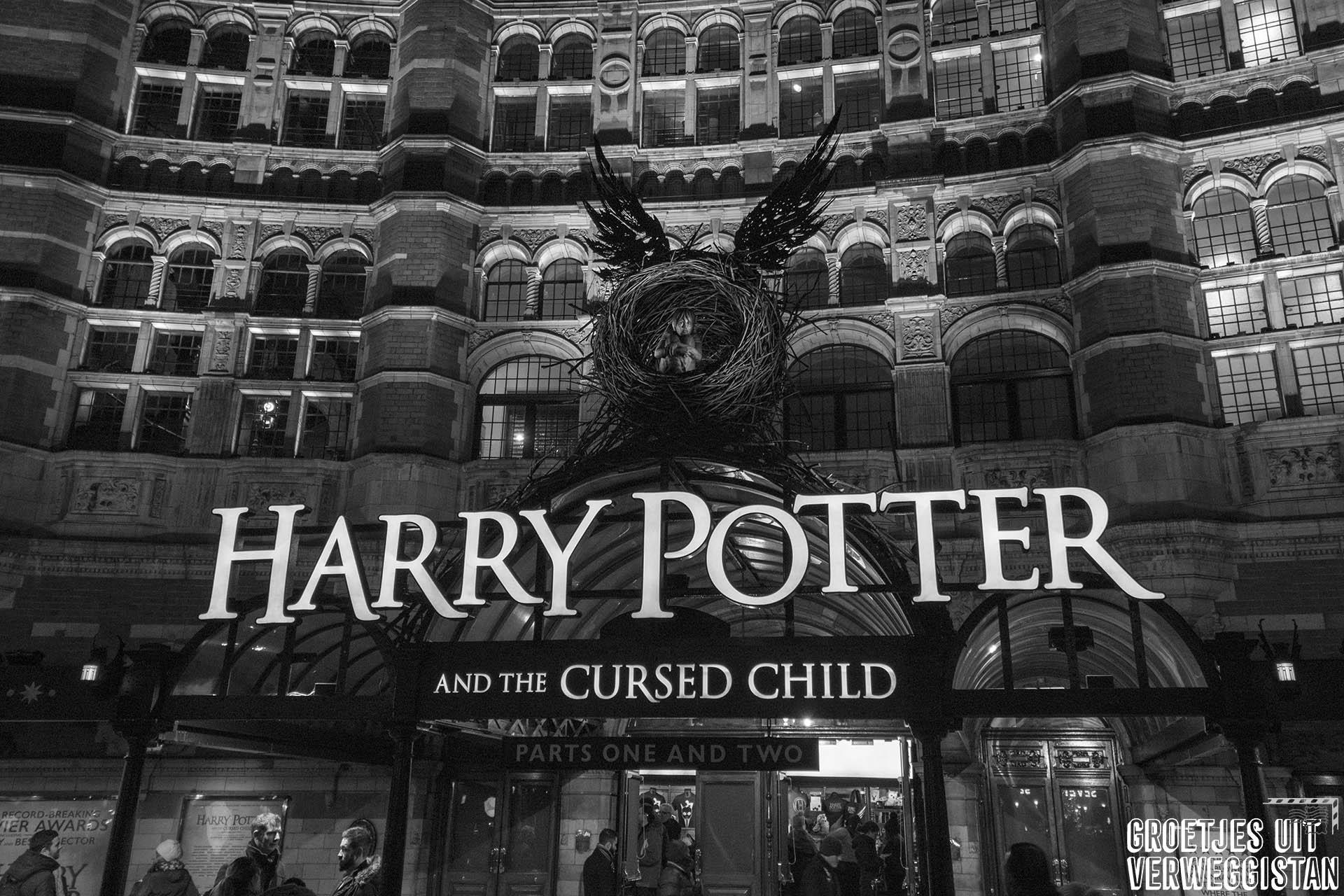 Voorzijde van Palace Theater in Londen, waar Harry Potter and the Cursed Child speelt.