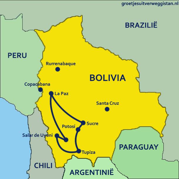 Rondreis Bolivia in twee weken: kaartje van Bolivia met route.