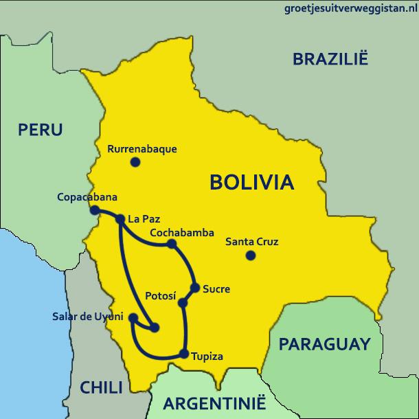 Rondreis Bolivia in drie weken: kaart met de route door Bolivia.