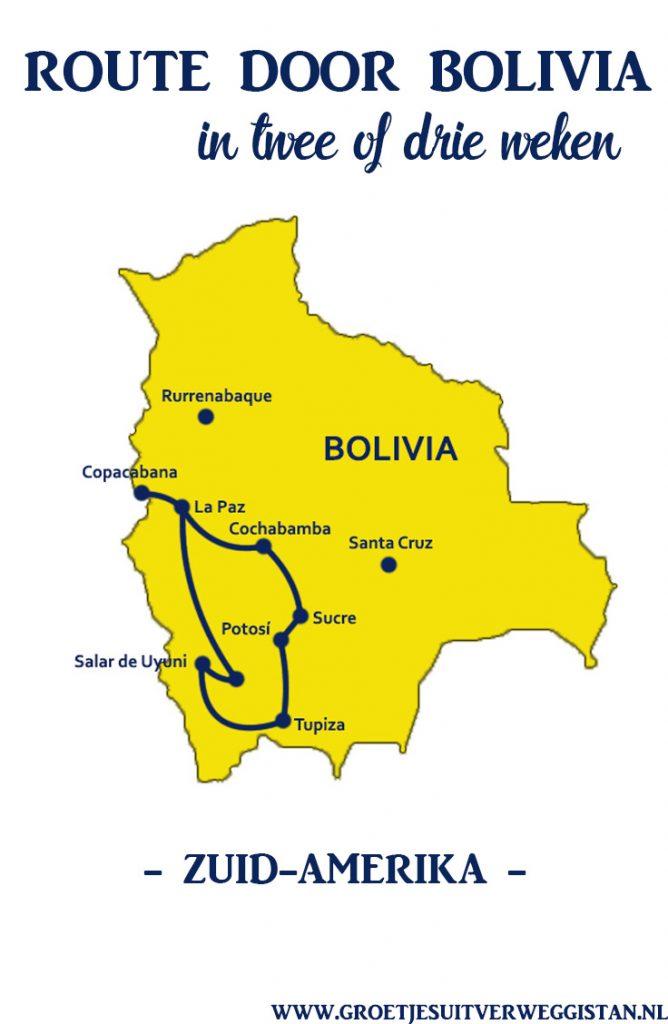 Kaart van Bolivia met een route erop aangegeven voor een reis met tekst: route door Bolivia in twee of drie weken.