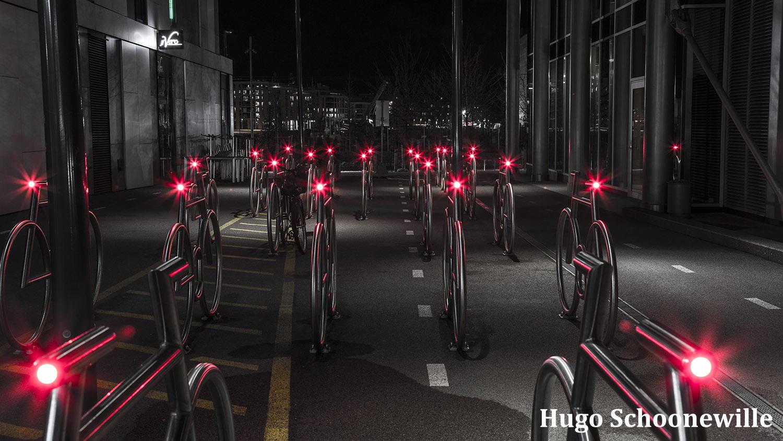 Barcode: fietsen in het moderne deel van Oslo.