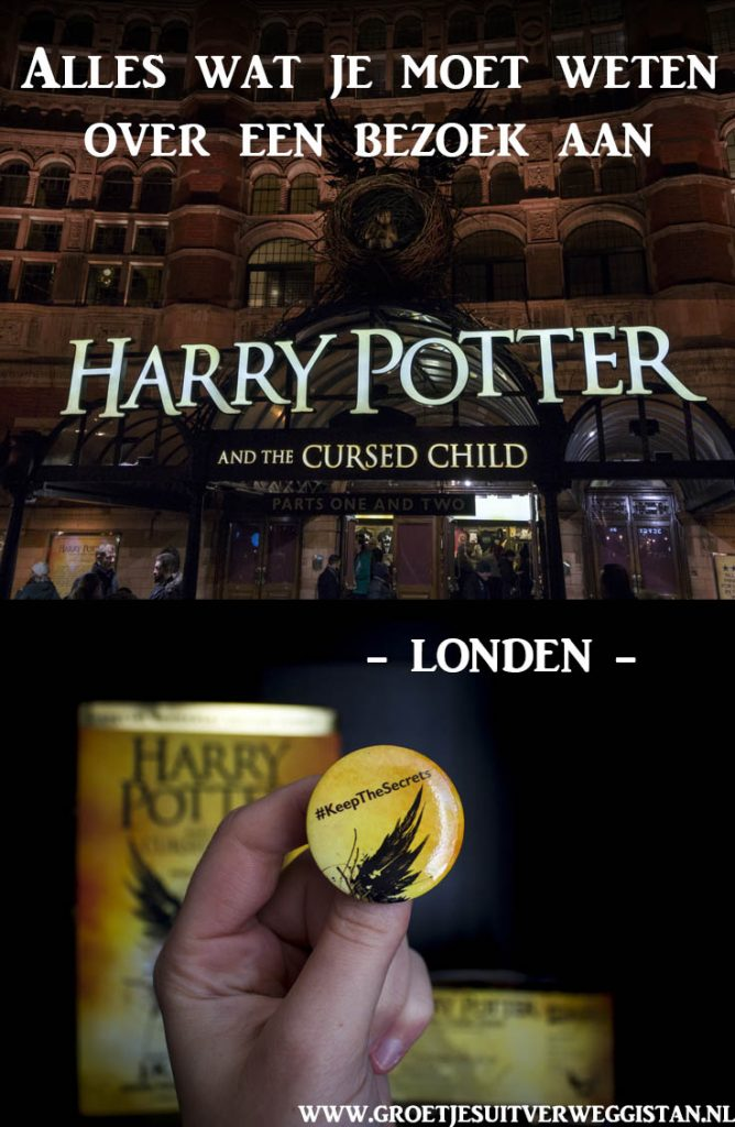 Afbeeldingen van Harry Potter and the Cursed Child voor Pinterest van het theater en van de button.