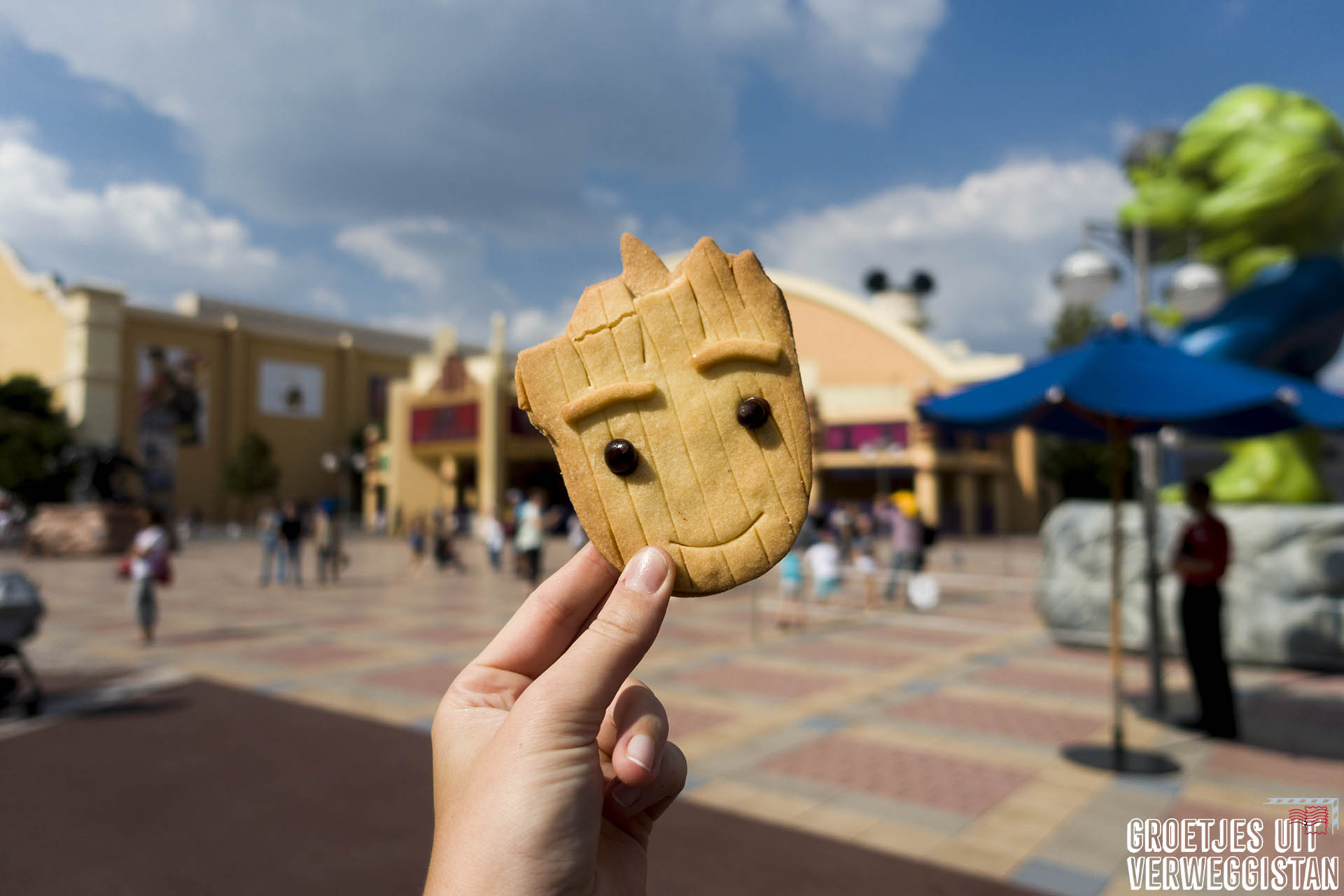 Koekje in de vorm van Groot uit Guardians of the Galaxy voor Studio 1 in Walt Disney Studios Park.