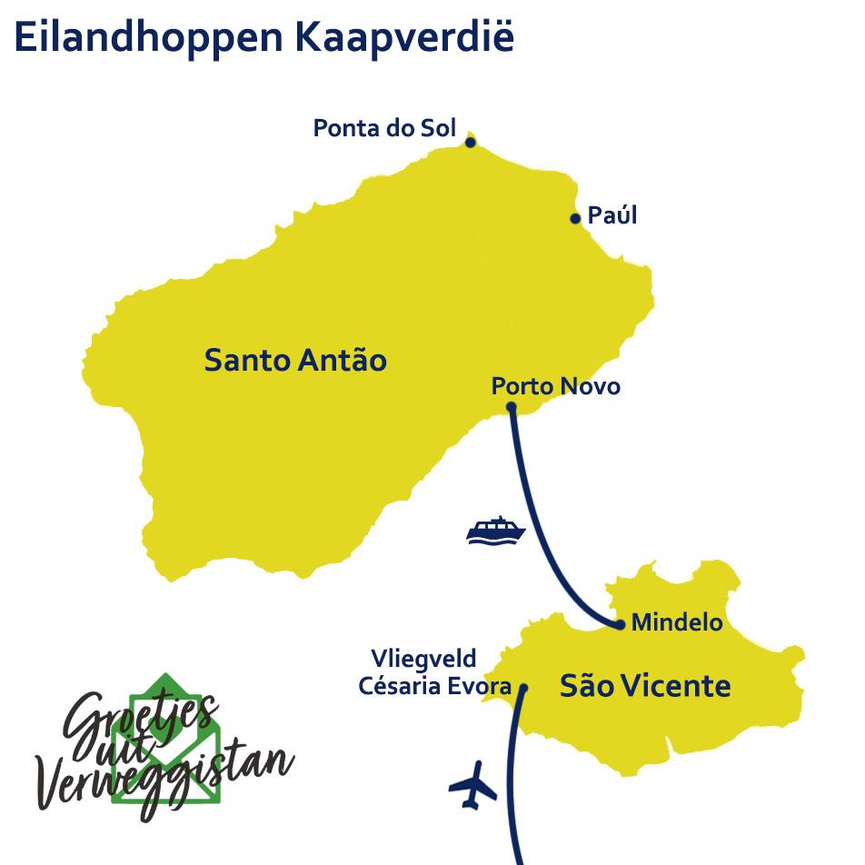 Kaart met een route voor eilandhoppen op Kaapverdië tussen de eilanden São Vicente en Santo Antão.