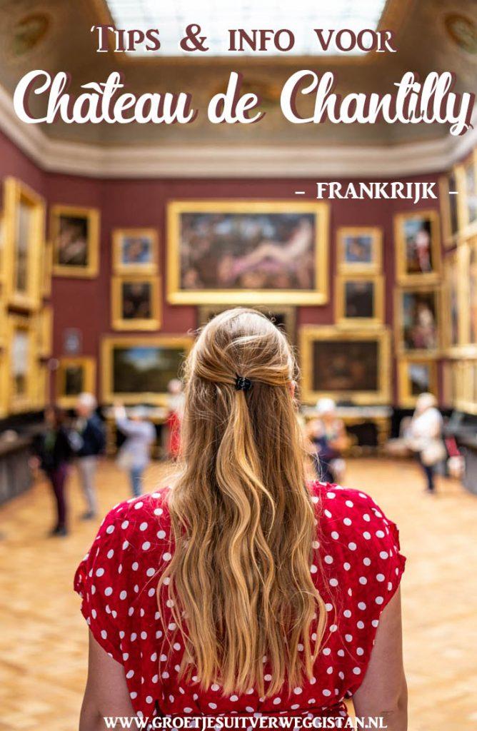 Pinterestafbeelding: tips en info voor Château de Chantilly met een afbeelding van de museumzaal