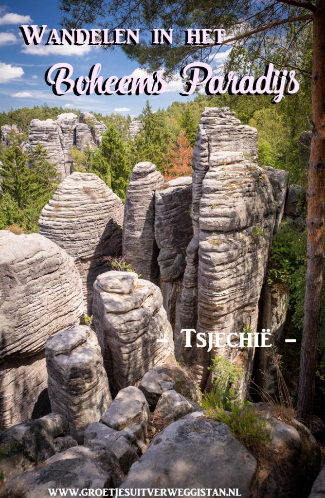 Pinterestafbeelding: Wandelen in het Boheems Paradijs in Tsjechië