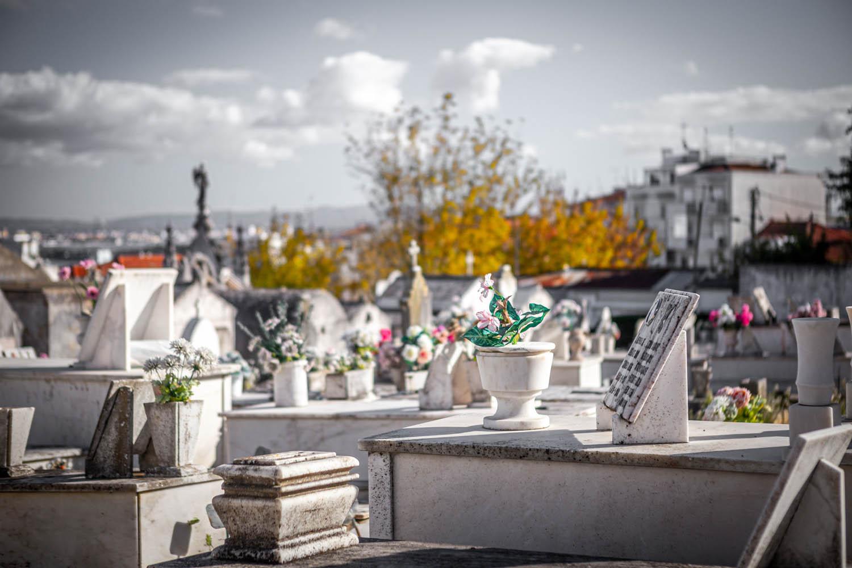 Graftombes met bloemen en Lissabon op de achtergrond op Cemitério de Almada.