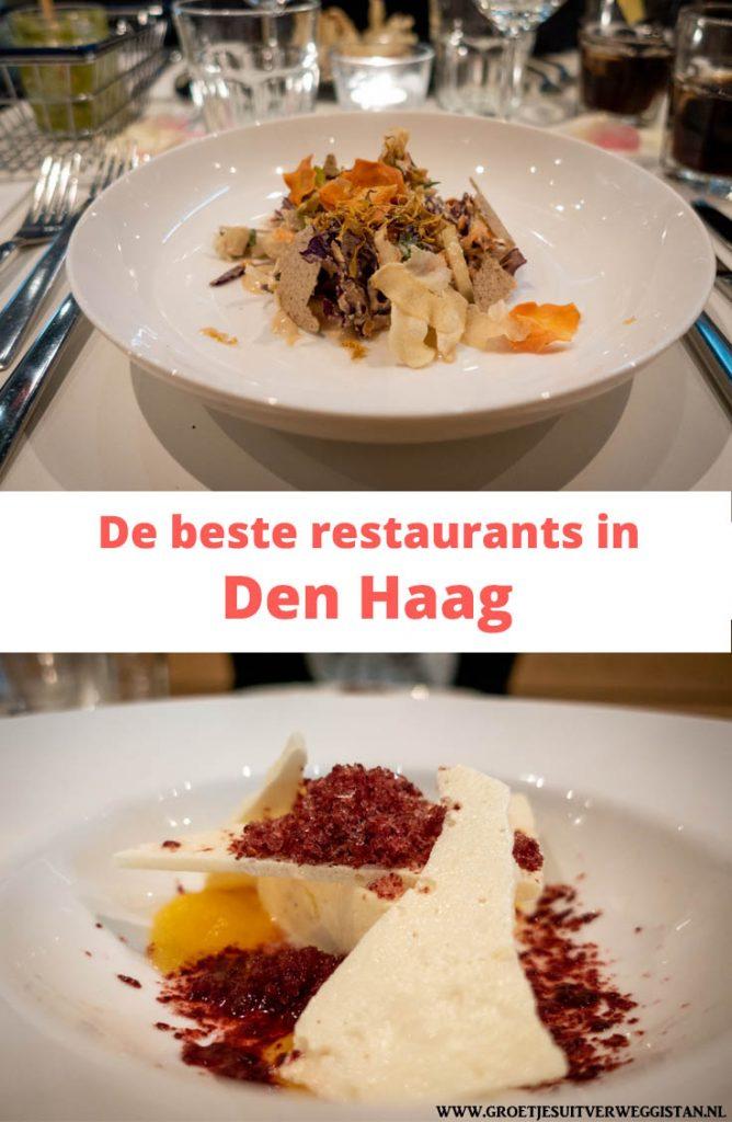 Pinterest afbeelding: voorgerecht en nagerecht bij Instock met tekst: de beste restaurants in Den Haag