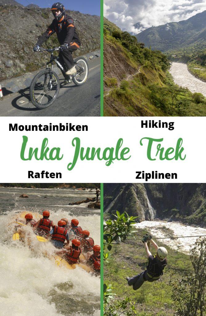 Pinterestafbeelding: Avontuurlijke Inka Jungle Trek naar Machu Picchu met mountainbiken, hiking, raften en ziplinen.