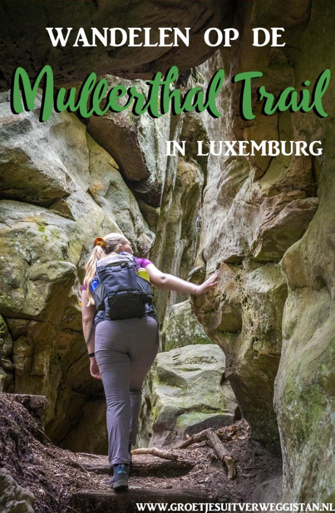 Pinterestafbeelding: Wandelen op de Mullerthal Trail in Luxemburg
