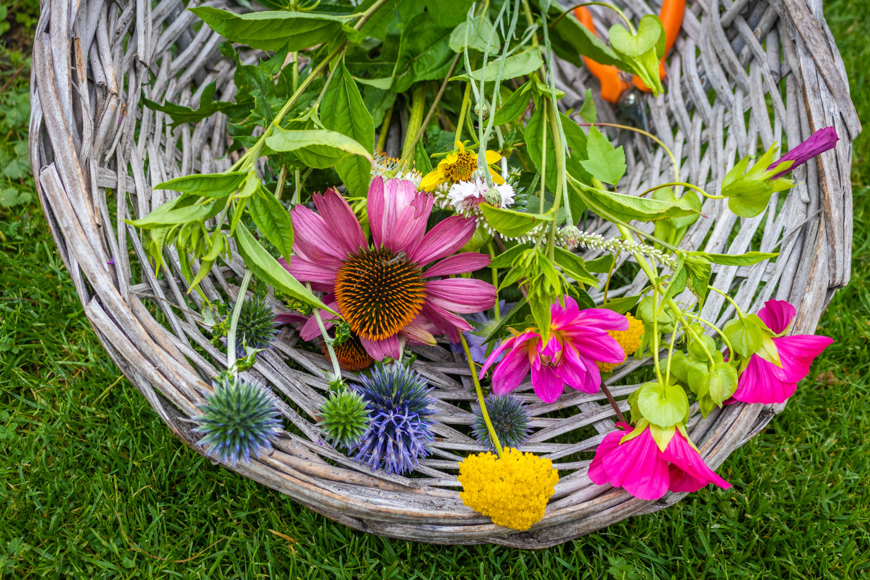 Een mandje met een gekleurde bos bloemen erin