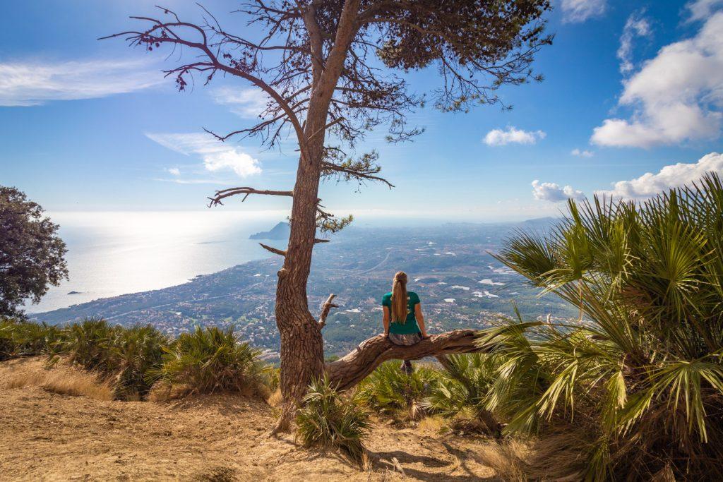 Manouk op een boomtak met uitzicht over Altea vanaf de Bernia