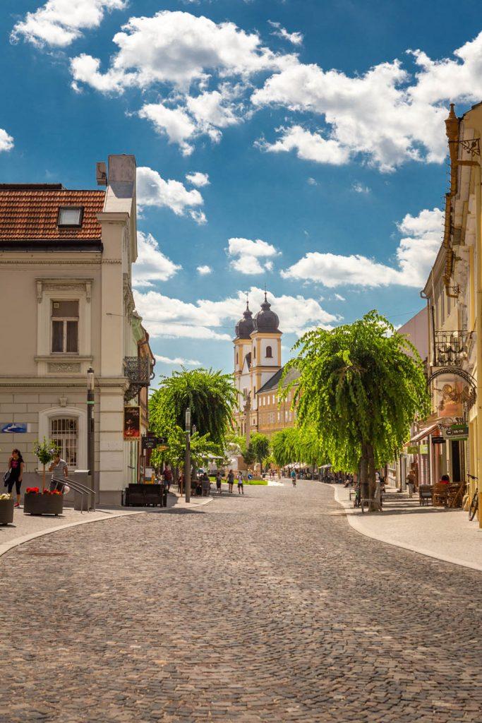 De hoofdstraat van Trencin met aan het einde de kerk, met veel groen langs de straat.