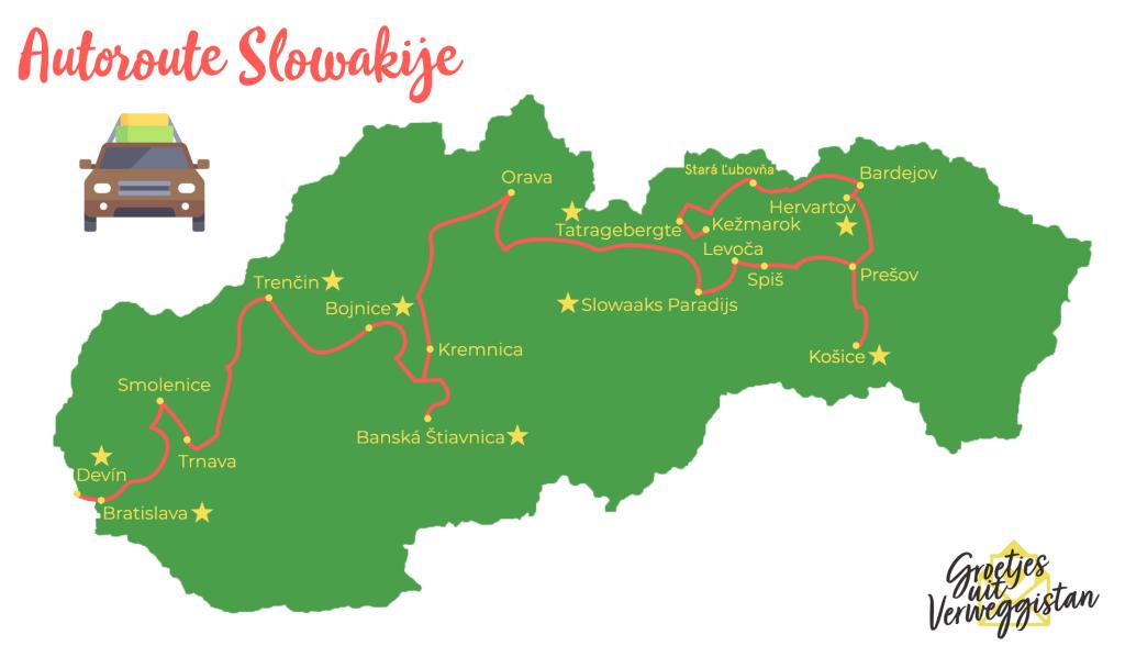 Autovakantie Slowakije: route door Slowakije op een kaart