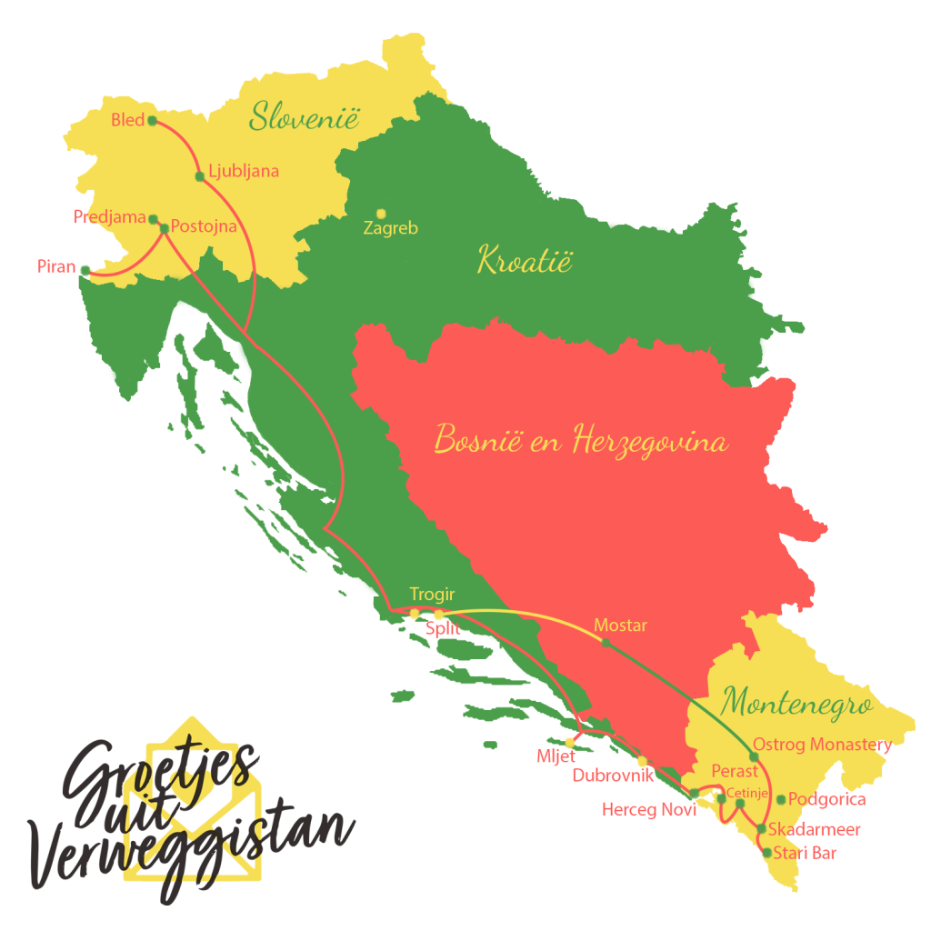 Kaartje met route voor een autovakantie Kroatie, Slovenie en Montenegro